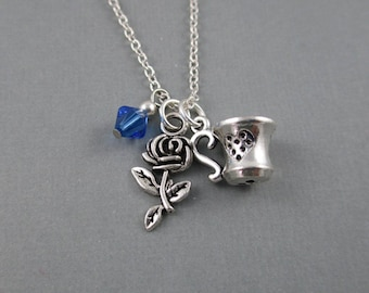 Beauty and the Beast Rose and Tea Cup Necklace, Fairy Tale Princess Jewelry, Disney Princess Wedding Gift, Once Upon a Time
