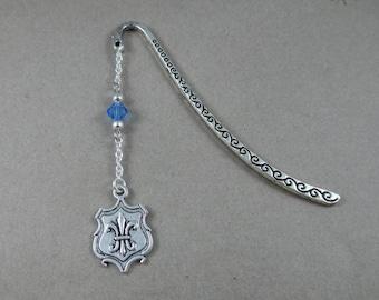 Three Musketeers Fleur de lis Shield Metal Bookmark - Silver