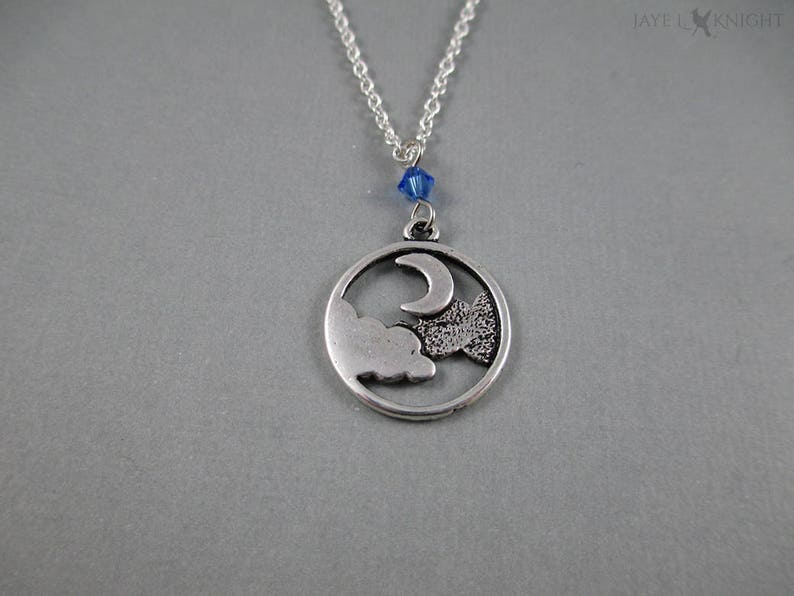 Round Silver Moon and Clouds Night Sky Charm Pendant Necklace image 0