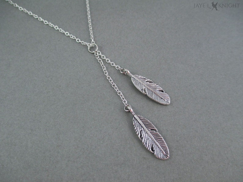 Silver Lariat Feather Charm Necklace  Boho Bohemian Necklace image 0