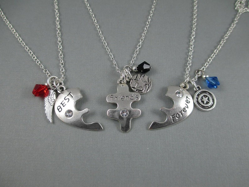 3 Way Friends Necklace  Captain America Steve Rogers Bucky image 0