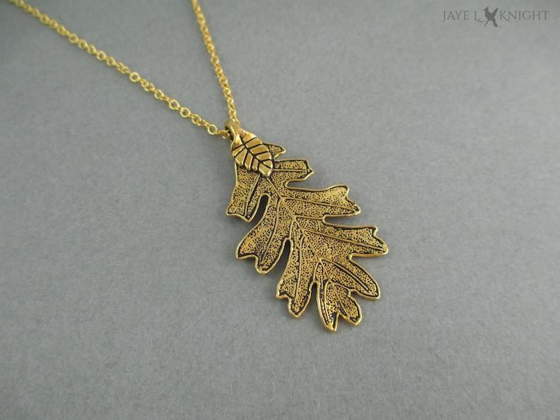 Ranger's Apprentice Gold Oak Leaf Pendant Leaf Necklace image 0