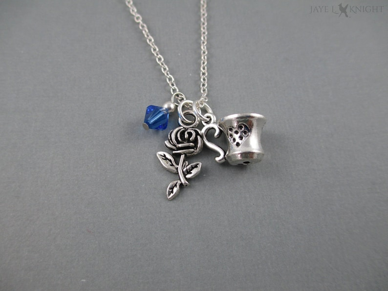 Beauty and the Beast Rose and Tea Cup Necklace Fairy Tale image 0