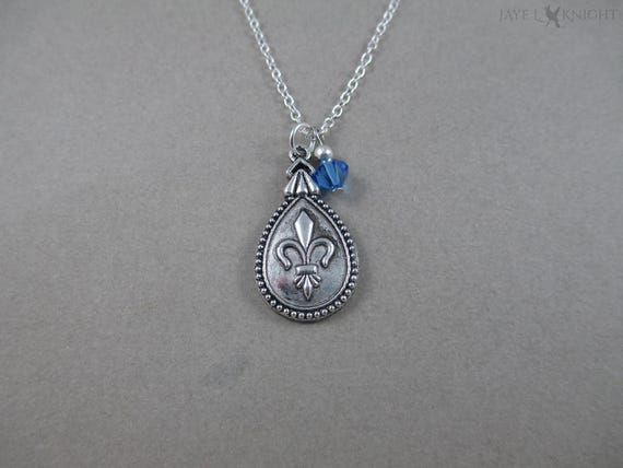 Three Musketeers Fleur De Lis Charm Necklace Silver Etsy