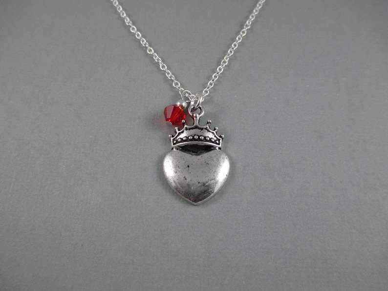 Regina Mills Evil Queen Necklace Heart and Crown Once Upon a image 0
