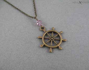 Bronze Ship Wheel Nautical Charm Pendant Necklace, Pirates of the Caribbean, Jack Sparrow, Once Upon a Time, Captain Hook, Killian Jones