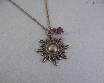 Tangled Sun Charm Necklace - Rapunzel - Bronze Charm