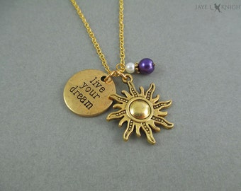 Tangled Live You Dream Gold Sun Charm Necklace - Rapunzel
