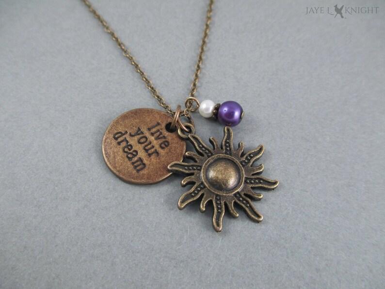 Tangled Live Your Dream Bronze Sun Charm Necklace  Rapunzel image 0