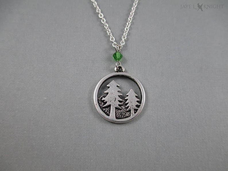 Round Silver Forest Pine Trees Charm Pendant Necklace Jewelry image 0
