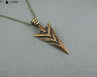 Bronze Arrowhead Arrow Necklace  Archery Charm Jewelry  Gift for Her  Gift for Woman Gift for Friend
