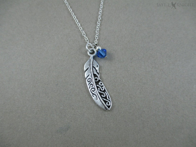 Silver Filigree Feather Charm Necklace  Boho Bohemian Necklace image 0