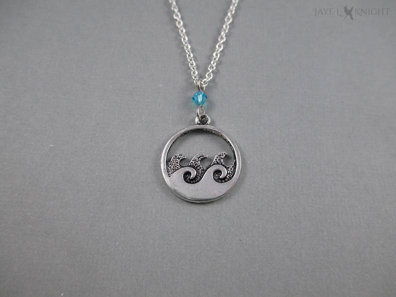 Round Silver Ocean Waves Beach Charm Pendant Necklace Jewelry image 0