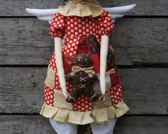 Textile Doll PDF Digital Pattern 'Ginger the Gingerbread Angel' Home Decor