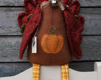 Textile Doll PDF Digital Pattern Thanksgiving Turkey Primitive Bird Home Decor