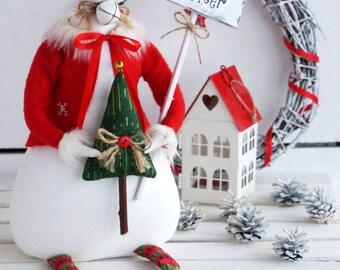 Textile Doll PDF Digital Pattern 'Winnie the Snowgirl' Christmas Holiday Home Decor