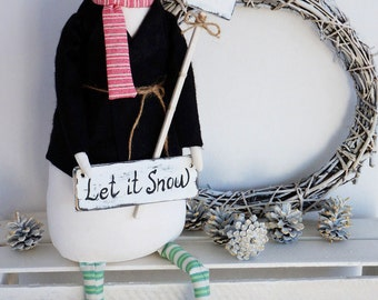 Textile Doll PDF Digital Pattern 'Flakie the Snowman' Christmas Holiday Home Decor