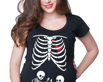 Maternity Rockstar Skeleton Funny Halloween Pregnancy Music T shirt