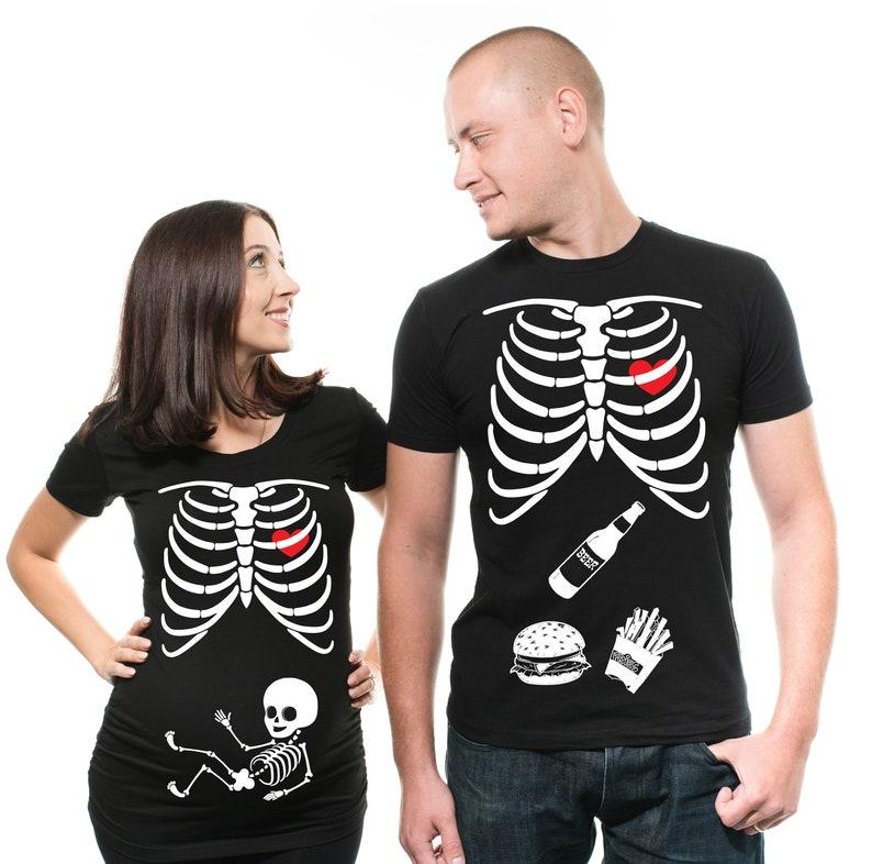 Matching Halloween Couple Shirts Halloween Costume Skeleton Maternity Shirt  Halloween Pregnancy Announcement Shirt Couples Shirts