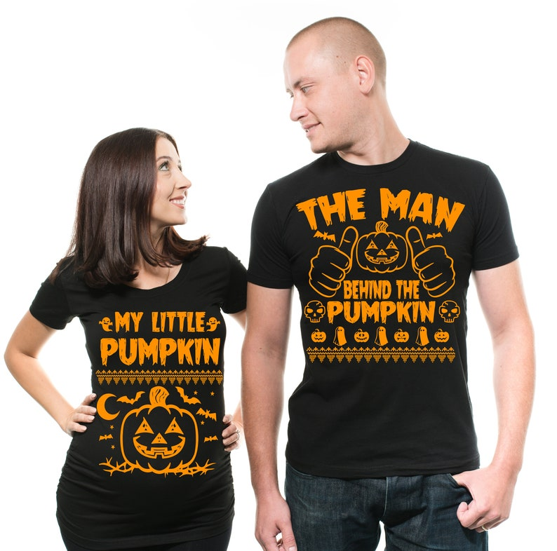 Funny Halloween Costumes For Pregnant Couples.Halloween Matching Pregnancy Couple Costumes Halloween Pumpkin Halloween Costume Man Behind The Pumpkin Pregnancy Couple Matching Tees