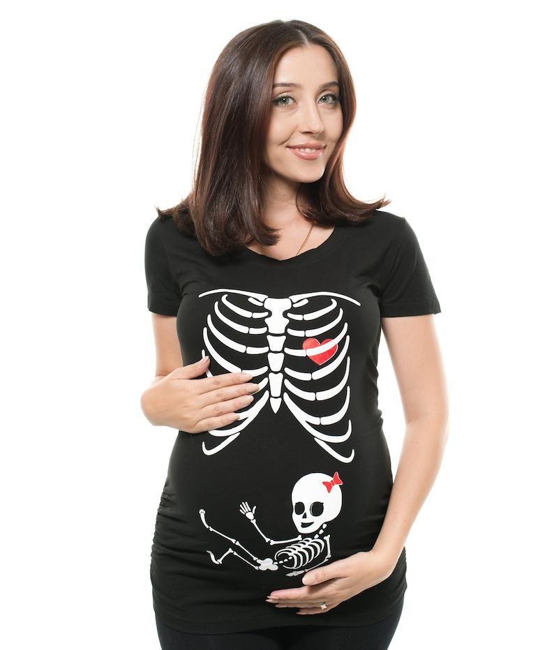e4e9f93df114b Pregnancy T-shirt Skeleton X-ray Baby Girl Funny Cute | Etsy