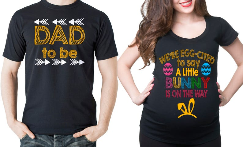 740641fbeaaad Easter Pregnancy Announcement Couple Maternity T-Shirts Dad | Etsy