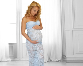 7761b35d32d Baby blue Maternity dress for Photo Shoot. Fitted Maternity Maxi dress.  Lace Maternity dress. Photography prop dress - tight fitting.