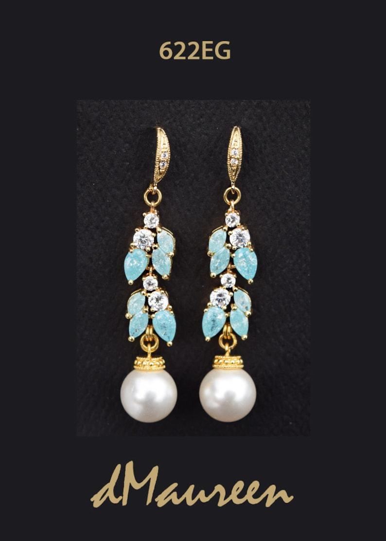e11147b0a7b Boucles doreilles or zircon cubique clair et bleu Aqua blanc