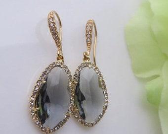 20% OFF Grey Wedding, Grey and Gold Cubic Zirconia Earrings, Bridal Earrings, Bridal Wedding, Bridal Jewelry, Bride