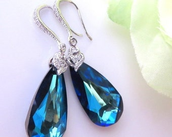 20% OFF Blue Wedding jewelry Brides Earrings, Bridesmaids Earrings, Blue Wedding, Blue  Swarovski Earrings, Free US Shipping