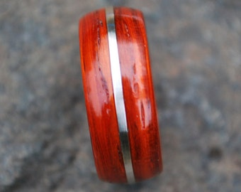 Wood ring - Bentwood Ring - Exotic Padauk Wood Ring - Wooden Ring - Wood Wedding Band - Wooden Engagement Ring - Sterling Silver Wood Ring