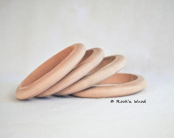 Set of 10 Wholesale Unfinished Square thin wooden wood bangles bracelet DIY