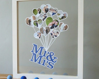 Mr & Mrs Balloon Photo Papercut (Unframed) - Perfect for the First Paper Wedding Anniversary