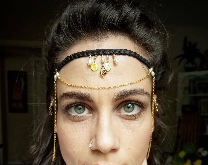 Featured listing image: Celestial Pearl Headband // Brass, Leather, Freshwater Pearls // Adjustable // Festival Appearl