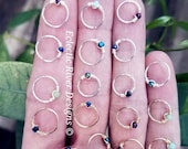 Gemstone Body Jewelry Hoops, Hair Hoops in 9mm-11mm, 22g-18g Sterling 22g-20g Gold Filled 22g-16g Stainless