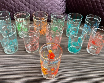 Archie Comics or Flintstones Juice Glasses, Welch's Jelly Glass, 1960's, 1970's, Fred, Barney, Wilma, Betty, Pebbles, Bam Bam, Dino, Jughead