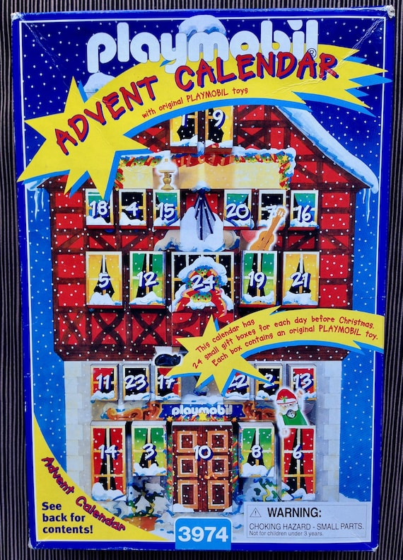 Playmobil Advent Calendar, #3974, 1997, Santa's Workshop Scene, 24 Boxes with Toys, Christmas Countdown, Elf, Sled, Cat, Rocking Horse, Tool