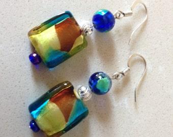 Dangle Earrings,Drop Earrings,Lampwork Earrings,Glass Earrings,Blue Yellow Brown Earrings,Shiny Earrings,Stering Silver Earrings,Birthday
