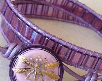 Purple Leather Wrap Bracelet,Glass Tiles Wrap Bracelet,Purple Leather Cuff,Purple Cuff Bracelet,Miyuki Tile Bracelet,CUSTOM ORDERS TAKEN
