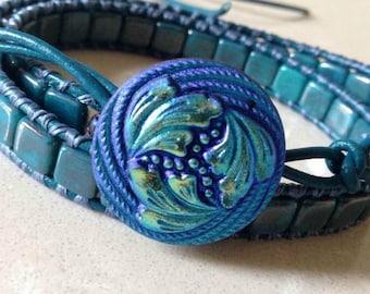 Leather Wrap Bracelet,Blue Leather Wrap,Persian Turquoise Tile Bracelet,Blue Leather Cuff,Turquoise Cuff Bracelet,CUSTOM ORDERS TAKEN