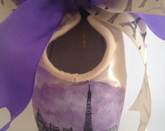 Custom City Skyline Handpainted Pointe Shoe