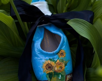 Monet Inspired Sunflowers Pointe Shoe
