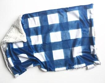 61fe5b5d971 Blue gingham Lovey security blanket, navy nursery, modern baby shower gift,  gender neutral nursery, toddler security blanket boy nursery