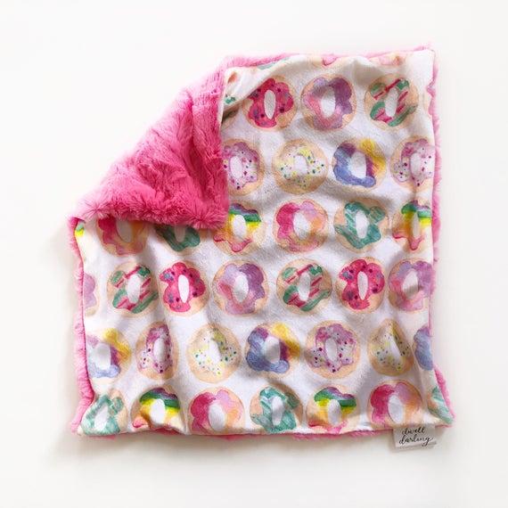 doughnut blanket donut blanket Donut lovey security blanket donut nursery minky toddler security blanket, girl baby shower gift
