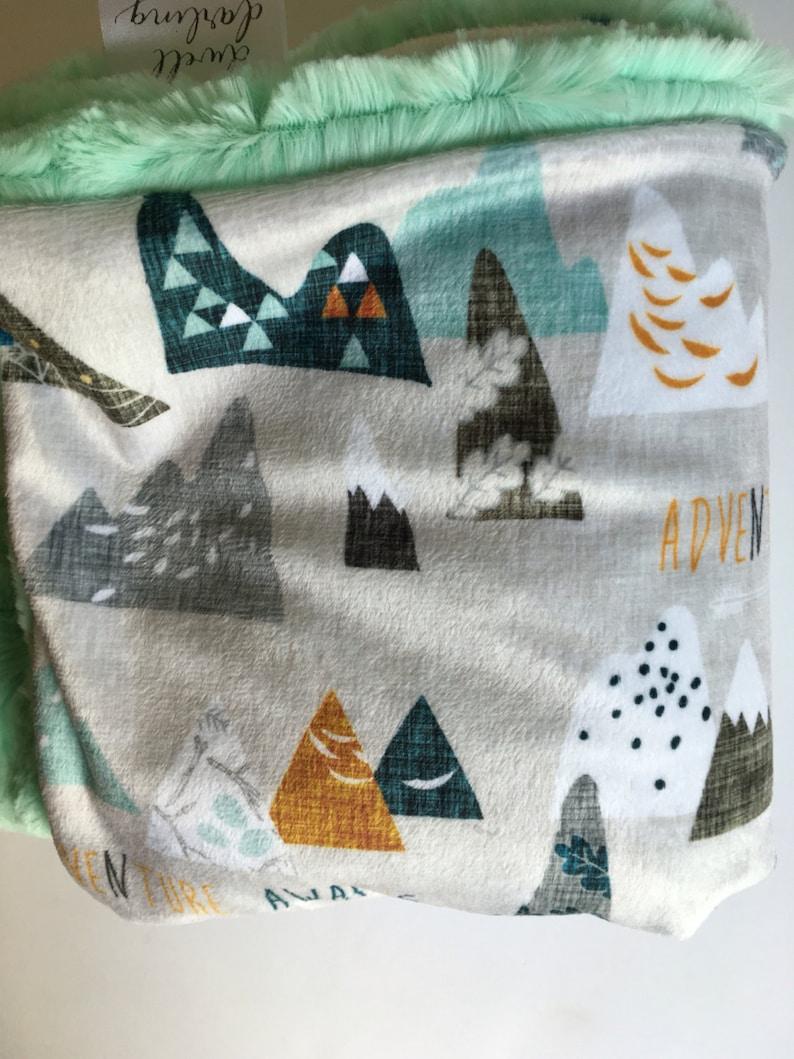 Adventure Baby Blanket modern baby gift minky Baby Blanket hipster Nursery Blue Green Mountain blanket mountains baby bedding