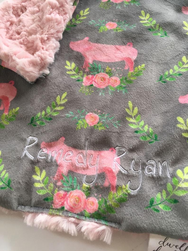 floral baby blanket nursery modern baby shower toddler lovey pig room decor Pig lovey security blanket floral blanket