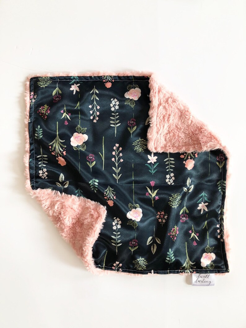 floral nursery baby blanket Floral satin lovey floral security blanket floral satin lovey faux fur lovey