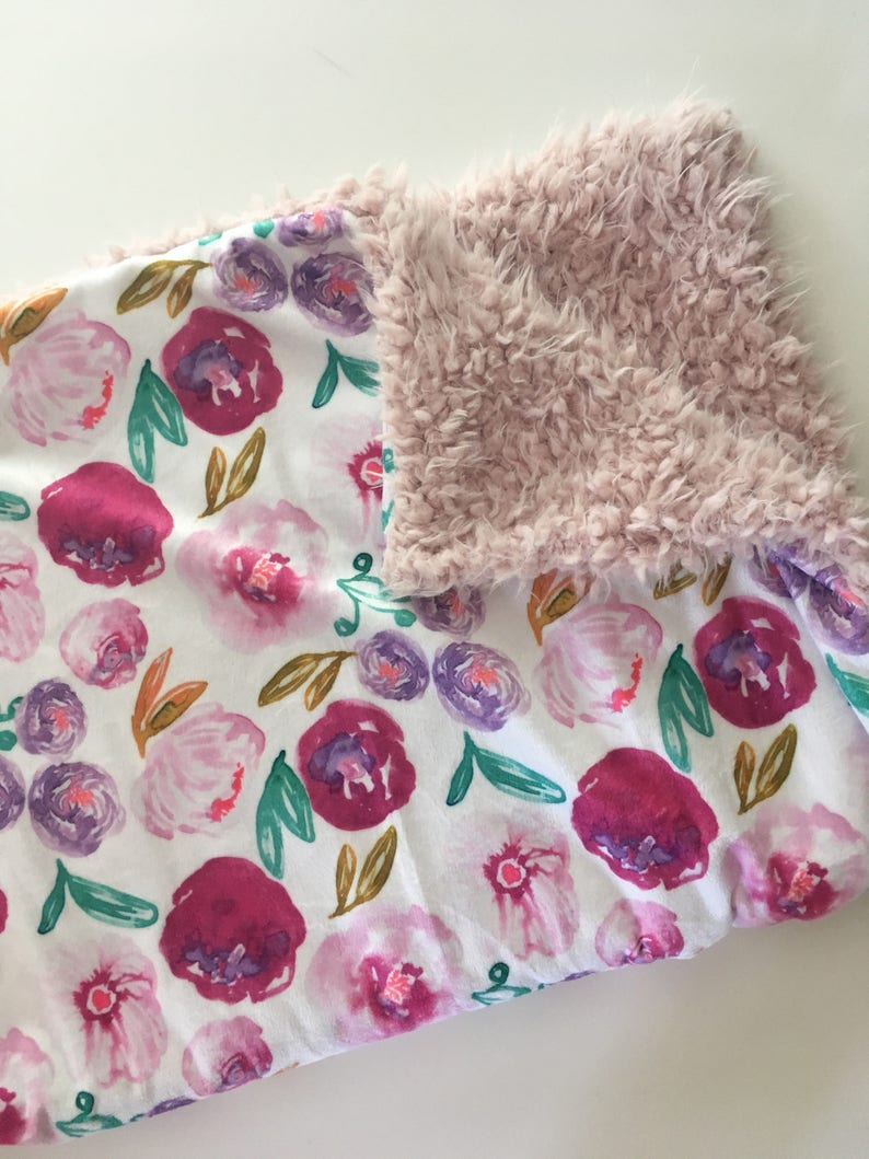 Floral Minky Baby Blanket- pink purple floral nursery jewel tone floral blush pink modern shower gift double minky florals