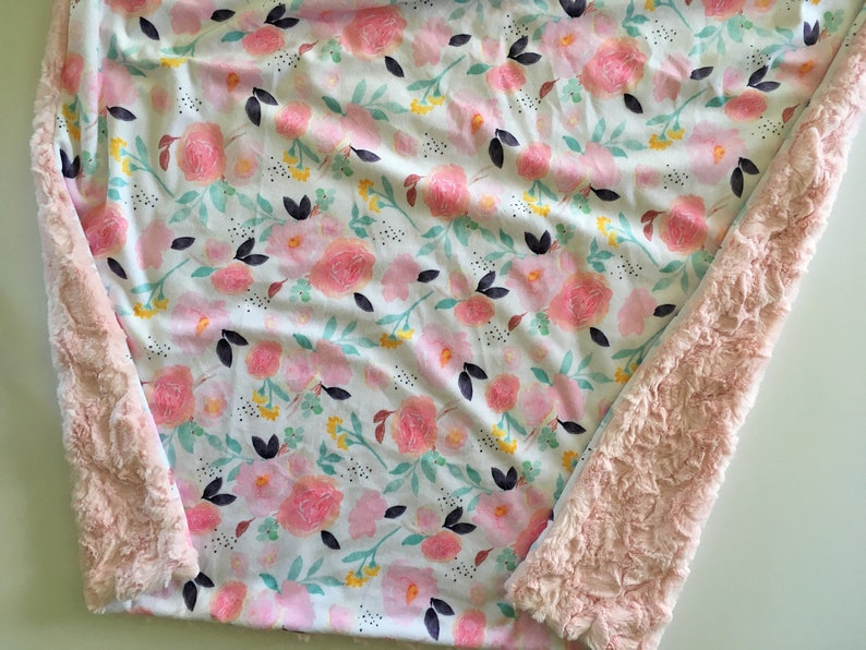 florals Floral Minky Baby Blanket- mint Floral blush pink nursery girl baby shower gift, modern baby blanket double minky