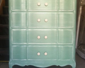 Shabby Chic French Provincial High Boy /Tall Dresser,Mint,sea foam green,sage green,white wash,Painted Furniture